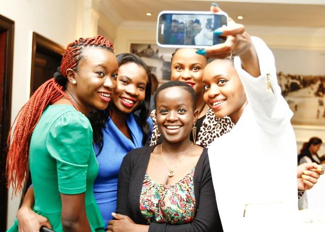 Bloggers (L-R) Vonette Orinda, Lucia Musau, Anita, Anita G. & Caroline Kibati (in black) test the Samsung Galaxy K Zoom