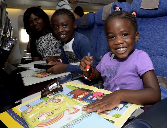 Gabriella Nnatu, 3, Naomi Nnatu, 8, and Sharon Nnatu (British Airways_-David Dyson)