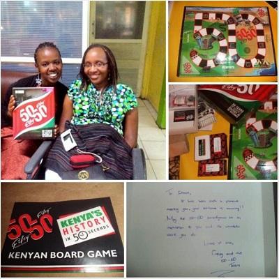 50 50 Board Game founder Casey Marenge with Sitawa Wafula