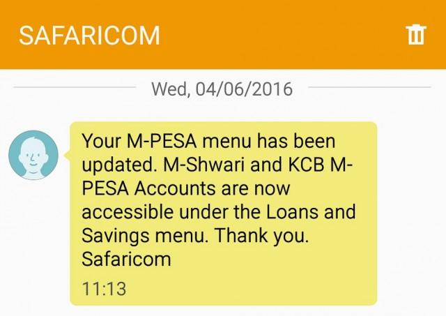New M-PESA menu 1