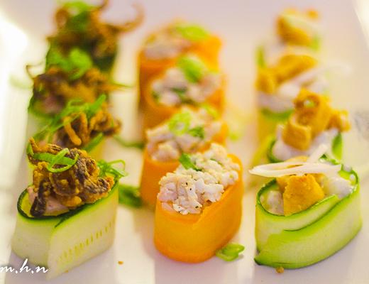 Sandwiched between the Calamari Gunkan is Wasabi Prawn , a boat shaped sushi with rice, fresh prawn & wasabi mayo