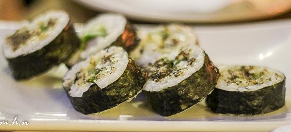 Kypro Prawn Roll, A futomaki with rice, fresh prawn, lettuce & soy oregano sauce