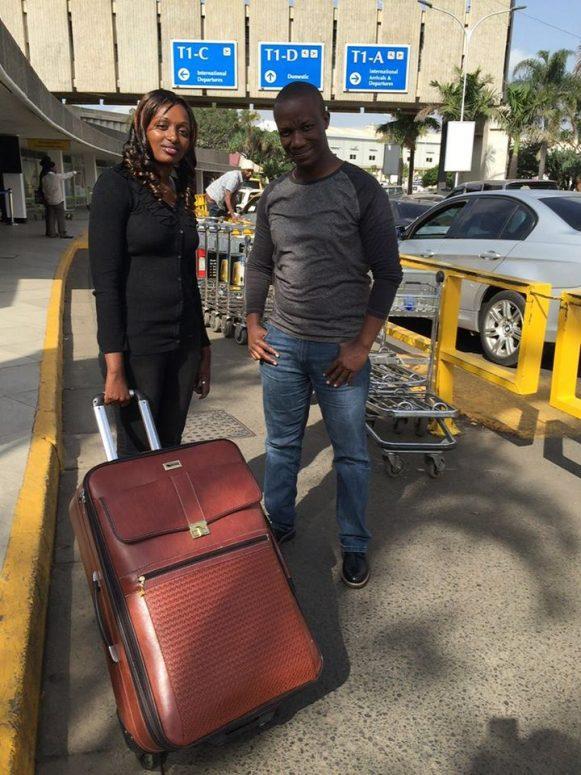 Sevelyn Kinya with Sam Gichuru at Jomo Kenyatta International Airport